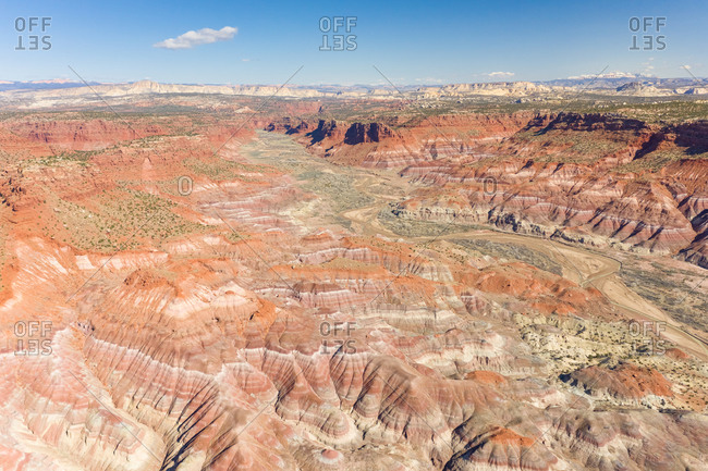 Aerial view of dry landscape over the Lower Hackberry Canyon, Utah, USA.