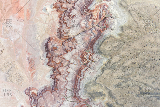 Aerial abstract view rock formations in Hanksville, close to the Mars desert research station , Utah, USA.