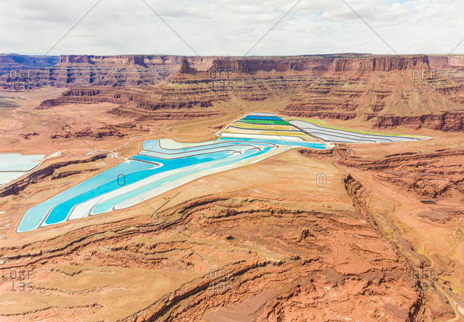 Aerial view Paradox Basin potash pools, Utah, USA.