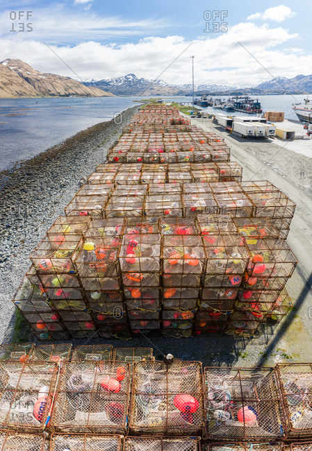 Aerial view of fishing cages in Unalaska bay, Alaska, USA.
