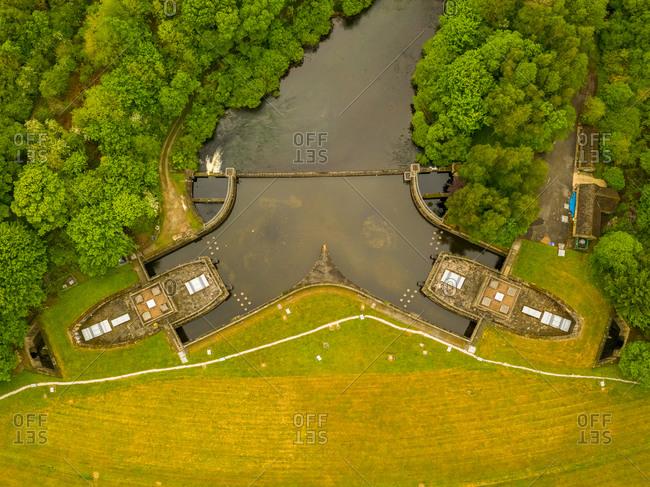 Aerial view of Ladybower Reservoir in the Peak District National Park, Pennines, UK.