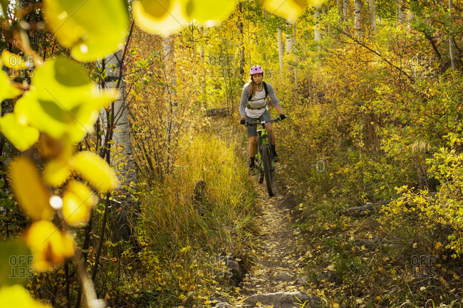 Young woman mountain biking amidst trees in forest during autumn