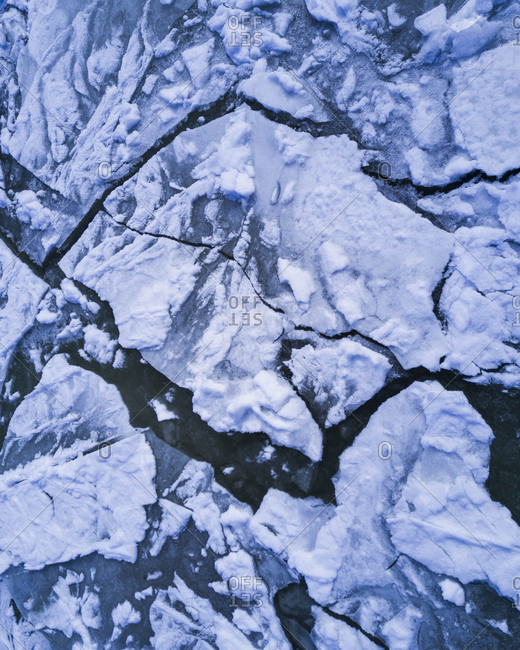 Aerial view of ice formations on river