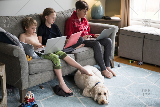 Siblings Work on Laptops on Couch in Living Room, With Family Dog