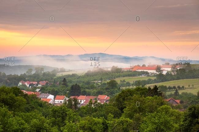Foggy evening at Komna village in Uherske Hradiste district, Czechia.