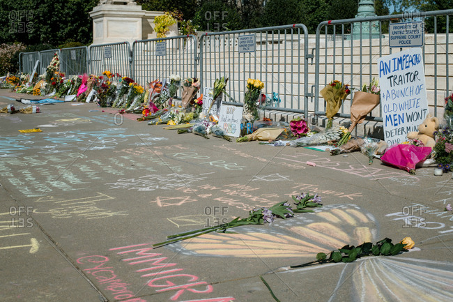 Washington, DC, United States - September 19, 2020: Flowers and chalk outside the Supreme Court for Justice Ginsburg