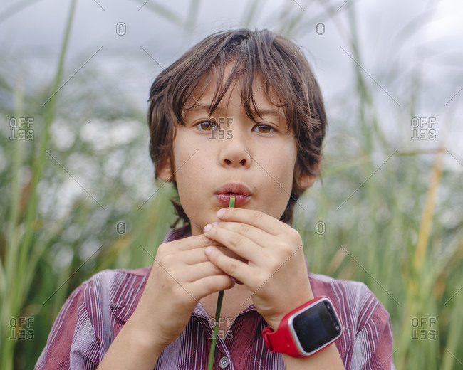 Close-up of a boy blowing into a hollow reed to play music outside