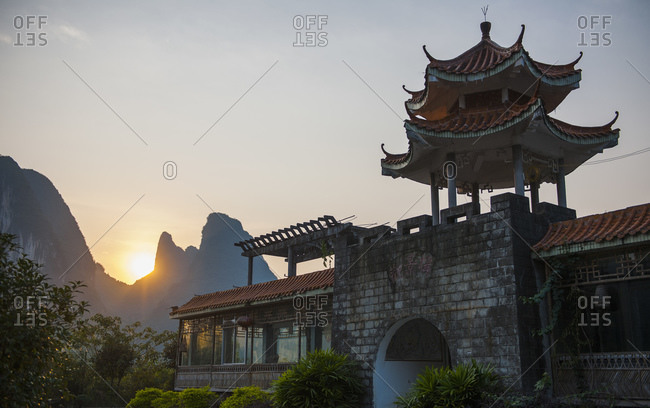 Guilin, Guangxi, China - October 19, 2015: Abandoned Chinese building