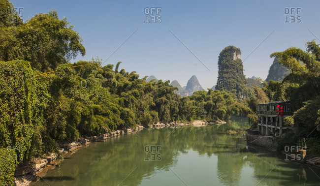 Guilin, Guangxi, China - October 16, 2015: The river Li close to Yangshua in China
