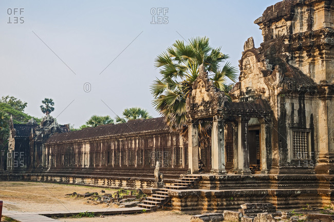 Ancient temple ruins of Angkor Wat in Cambodia