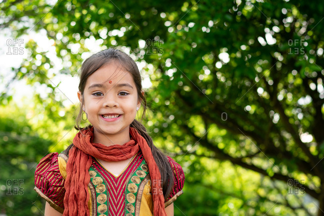 Portrait of Indian Australian girl wearing traditional Indian clothing