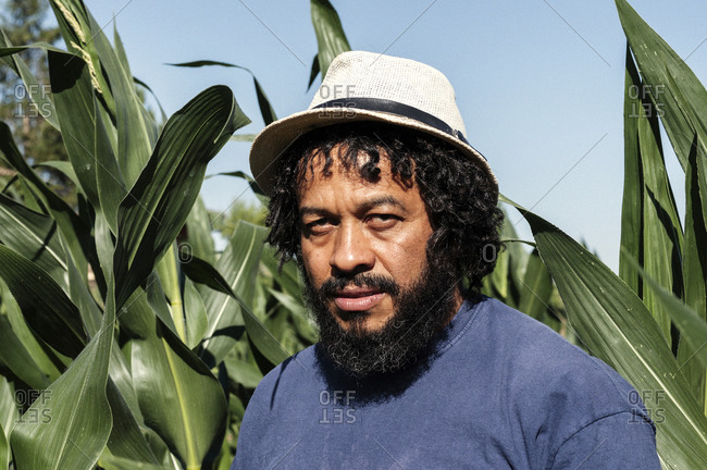 Portrait of African-American in the orchard.