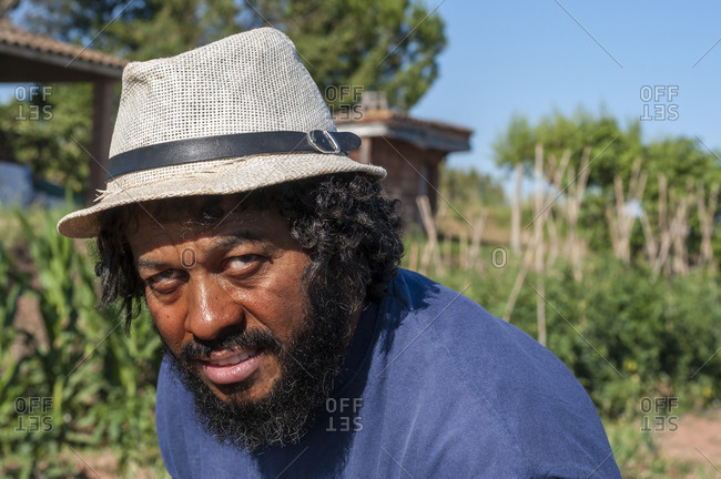 Portrait of colombian man with hat