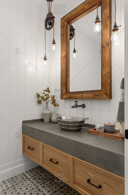 Bathroom in modern farmhouse style luxury home