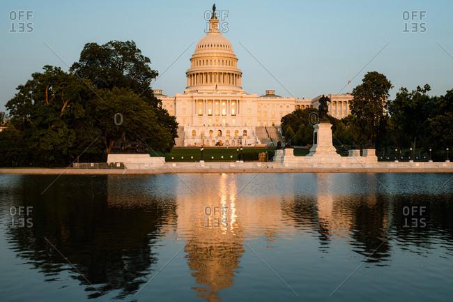 Washington, DC, United States - October 16, 2020: US Capitol Building and Reflecting Pool