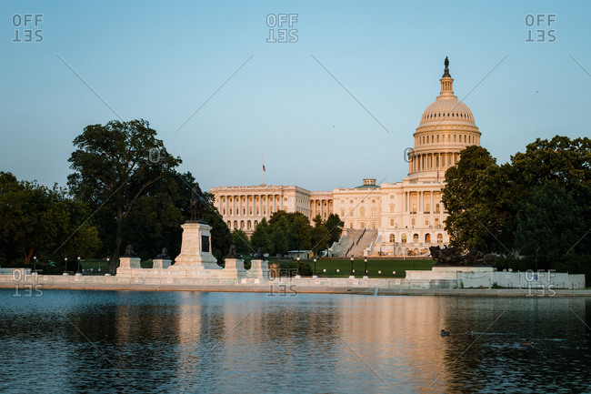 Washington, DC, United States - October 16, 2020: View of the US Capitol Building across Reflecting Pool