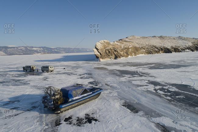 Tourism's overcraft and vans over Baikal Lake