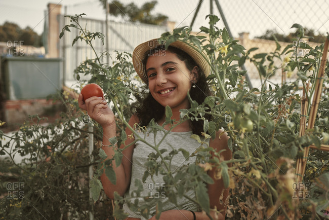 A smiling girl looking at the tomato picked from the orchard.