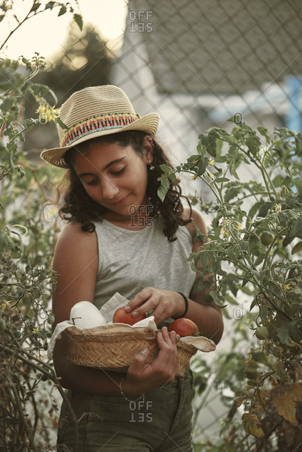 Portrait of a girl picking vegetables from her small garden.