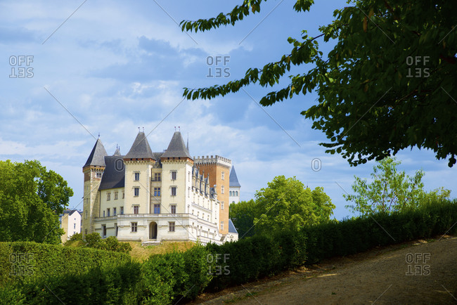 Pau, France - August 9, 2020: view of the west facade of the renaissance castle during a summer afternoon.