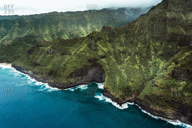 Aerial view of Na Pali Coast in north Kauai (Hawaii)