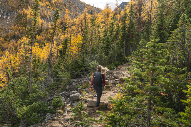 Female Hiker Walking Up To Paradise Valley