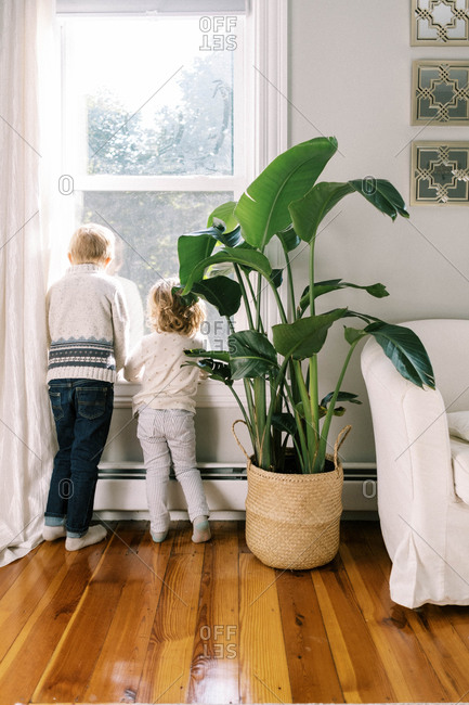 Two kids watching the street through the upstairs window