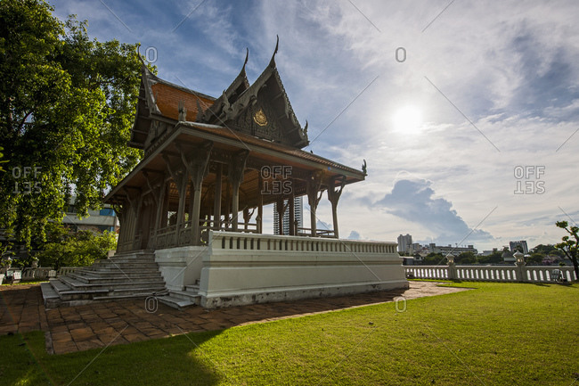Pagoda next to the Chao Phraya river in Bangkok