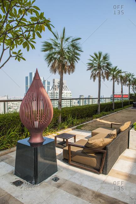 Bangkok, Bangkok, Thailand - April 20, 2016: rooftop garden at luxury condominium in Bangkok