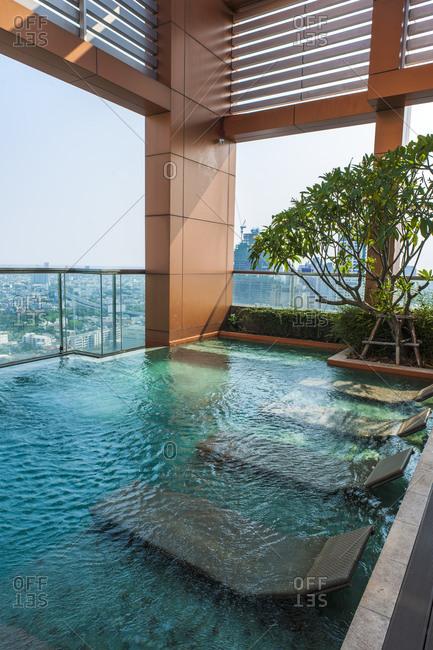 Bangkok, Bangkok, Thailand - April 20, 2016: rooftop swimming pool at luxury condominium in Bangkok