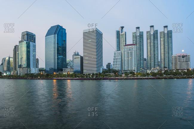 Bangkok, Bangkok, Thailand - April 23, 2016: luxury condominium at Benjakitti park in Bangkok
