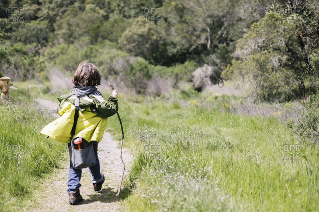 Back view child hiking with walking stick by trail