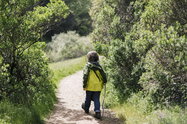Back view of child walking stick between treen