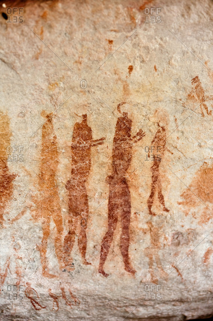 December 23, 2010: Close-up of Khoisan Rock painting in the Cederberg Conservancy