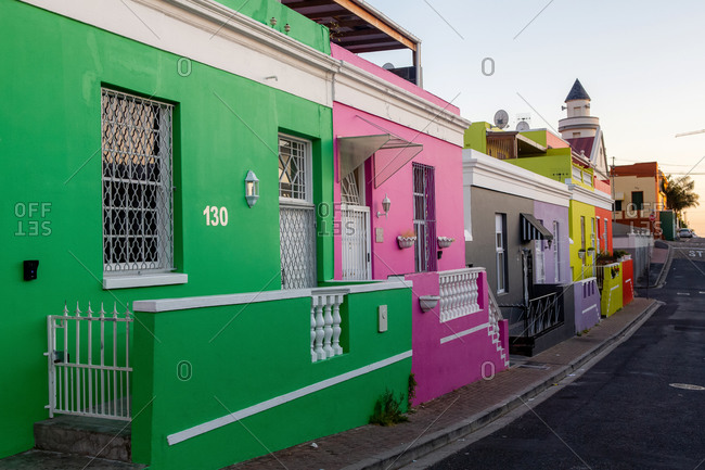 October 27, 2018: Colorful buildings of Bo-Kaap, Cape Town