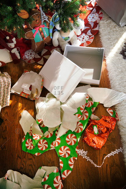 Left over Christmas gift boxes and wrapping paper