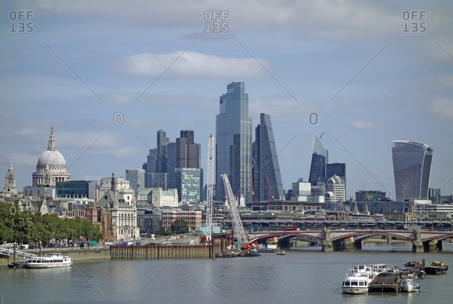 City of London skyline with skyscrapers and St. Paul's Cathedral, London, England, United Kingdom, Europe