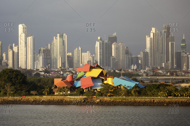 January 17, 2020: Panama City Skyline at dusk, Panama, Central America