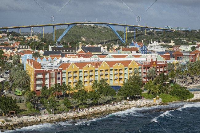 January 15, 2020: Queen Juliana Bridge and Rif Fort, Willemstad, Curacao, Lesser Antilles, Caribbean, Central America