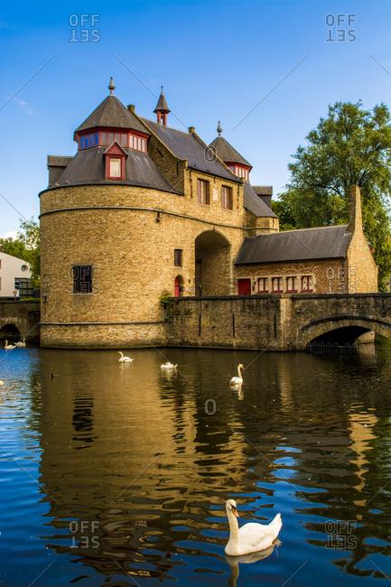 Ezelpoort (Donkey's Gate), fortified gate, Bruges, West Flanders, Belgium, Europe