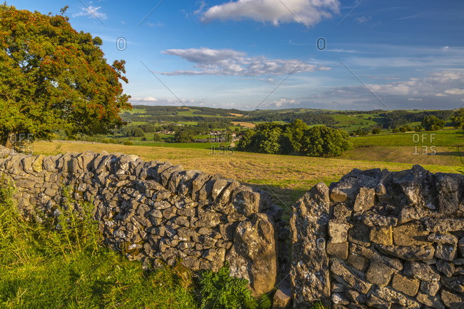 View of dry stone walls near You grave village, Peak District National Park, Derbyshire, England, United Kingdom, Europe