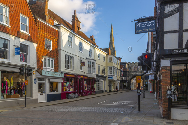 September 9, 2020: View of shops and bars on High Street, Salisbury, Wiltshire, England, United Kingdom, Europe