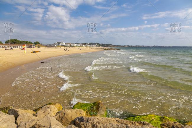 View of Sandbanks Beach in Poole Bay, Poole, Dorset, England, United Kingdom, Europe