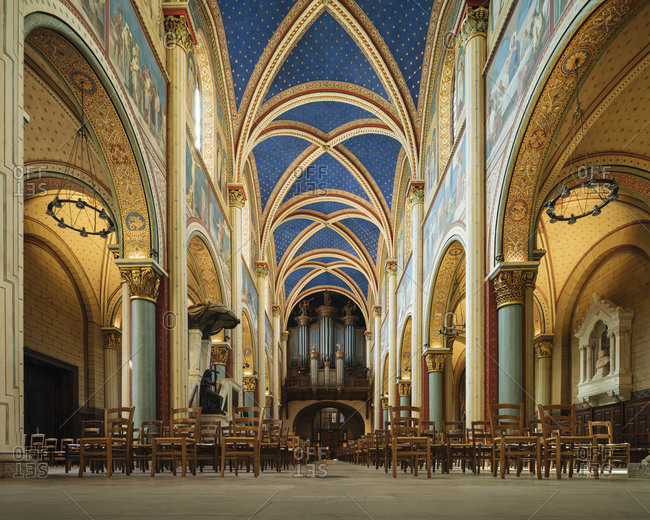 August 4, 2020: Interior of Benedictine Abbey of Saint-Germain-des-Pres, Paris, Ile-de-France, France, Europe