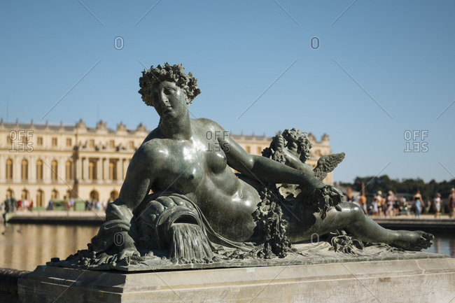 August 5, 2020: Marble Statue, Gardens, Palace of Versailles, UNESCO World Heritage Site, Yvelines, Ile-de-France, France, Europe