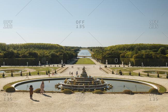 August 5, 2020: Gardens, Palace of Versailles, UNESCO World Heritage Site, Yvelines, Ile-de-France, France, Europe
