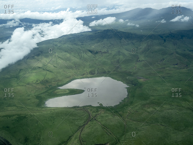 Aerial view of Ngorongoro Crater in the Ngorongoro Conservation Area, UNESCO World Heritage Site, Tanzania, East Africa, Africa
