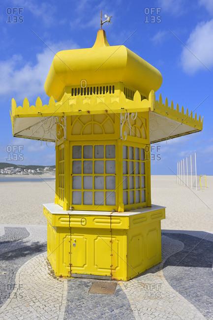 Colorful yellow kiosk, Foz de Arelho, Leiria district, Portugal, Europe