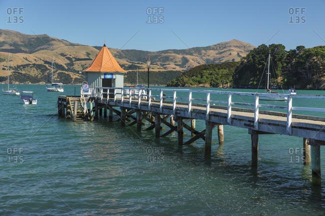 Daly's Wharf, historic jetty, Akaroa Harbor, Banks Peninsula, Canterbury, South Island, New Zealand, Pacific
