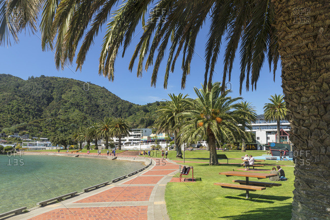 February 25, 2020: Promenade at the harbor of Picton, Marlborough Sounds, South Island, New Zealand, Pacific
